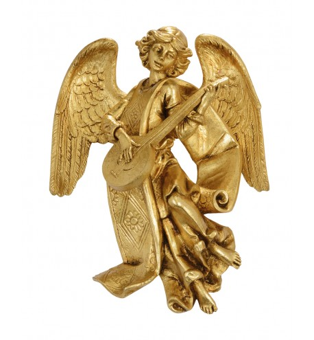 Angel with mandolin (470) gold leaf 17 cm.