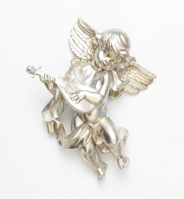 Angel with mandolin (465) silver leaf 27 cm.
