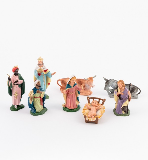 Nativity 8 pieces for creche traditional colours 10 cm.