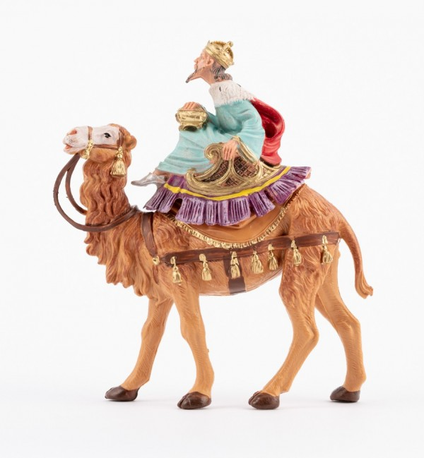 King on camel (8) for creche traditional colours 10 cm.