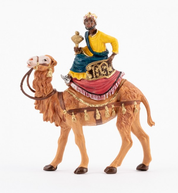 King on camel (9) for creche traditional colours 10 cm.