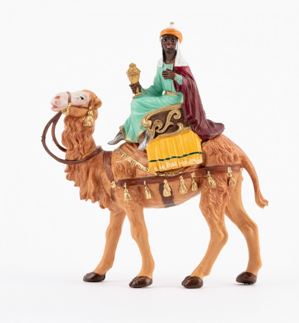 King on camel (10) for creche traditional colours 10 cm.