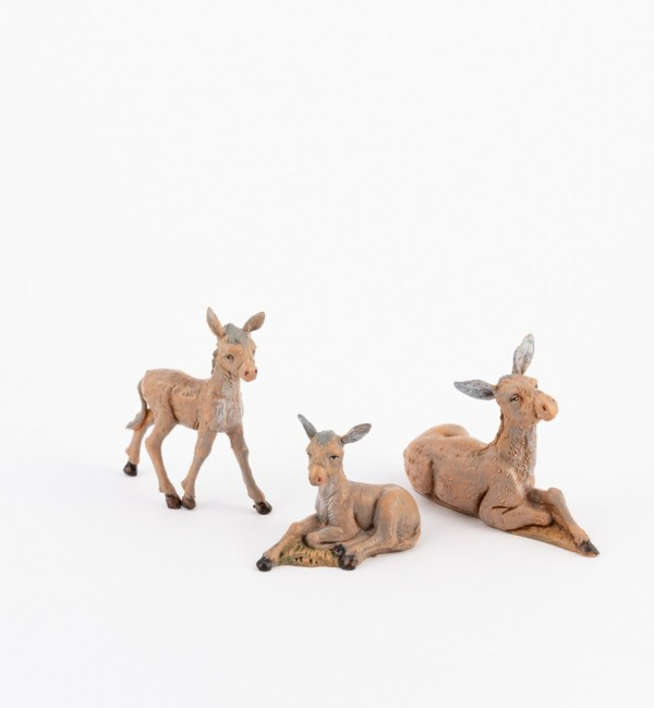 Donkey family for creche 12 cm.