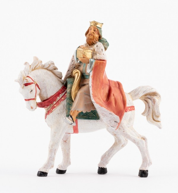 King on horse for creche 12 cm.