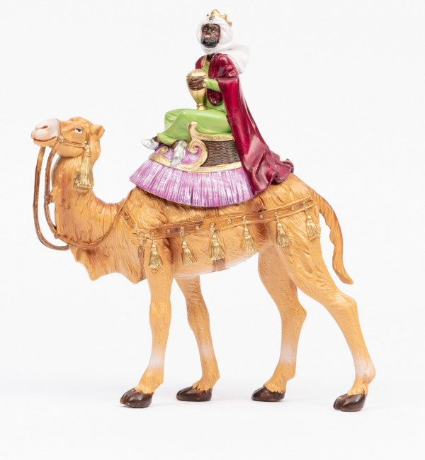 King on camel (1) for creche traditional colours 19 cm.