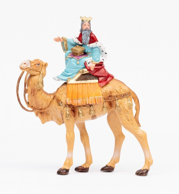 King on camel (2) for creche traditional colours 19 cm.