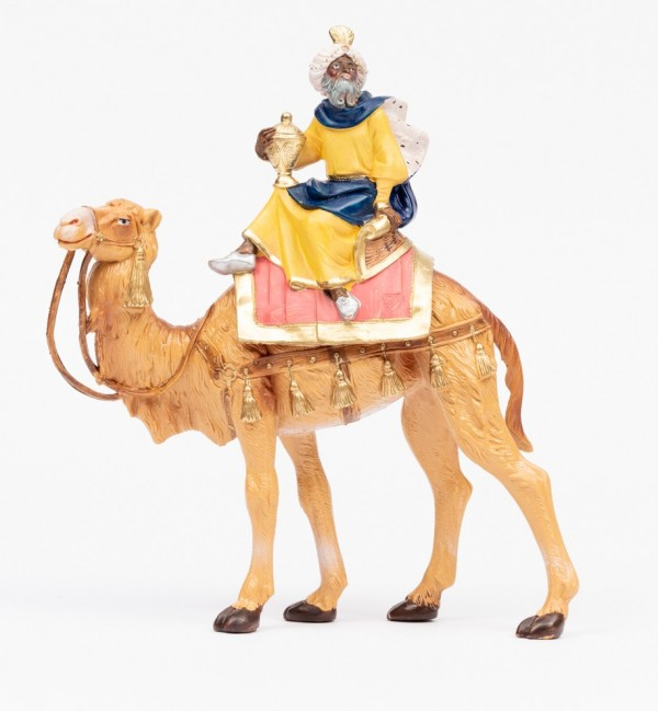King on camel (3) for creche traditional colours 19 cm.