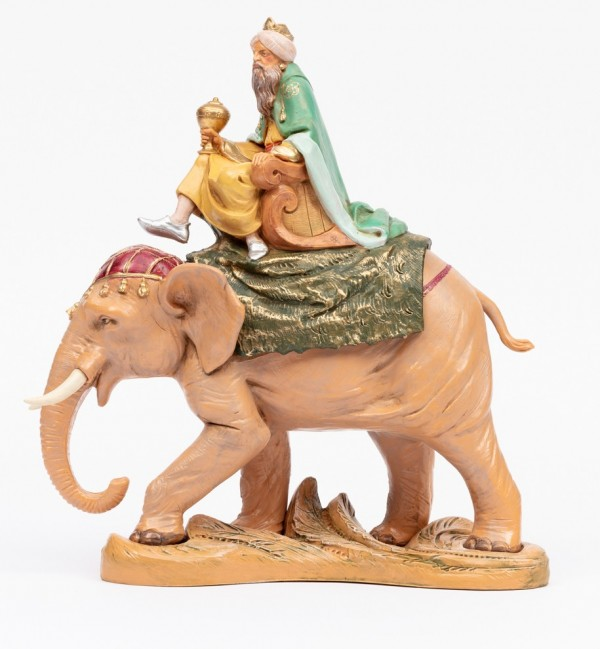 King on elephant for creche 19 cm.