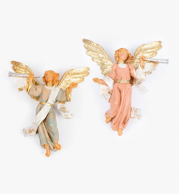 Trumpeting angels (15D-15S) for creche 12 cm.