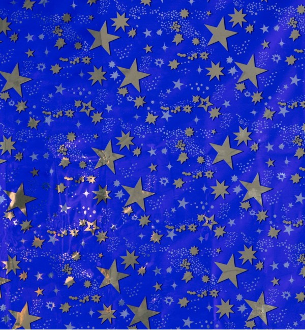 Rolled gold stars sky sheet 100x70 cm.