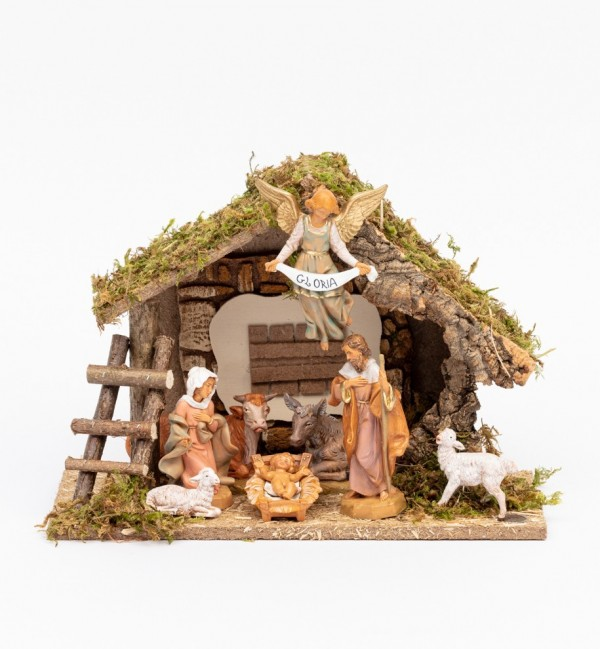 Stable n.217/L with 8 pieces for creche 12 cm.