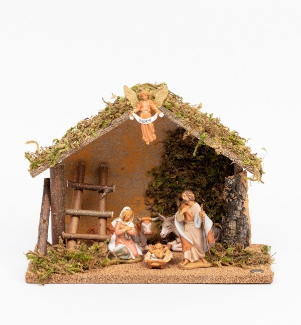 Stable n.224/L with 6 pieces for creche 9,5 cm.