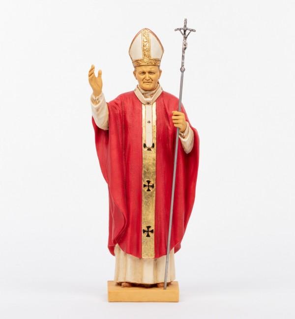 Pope John Paul II red vest in resin 56 cm.