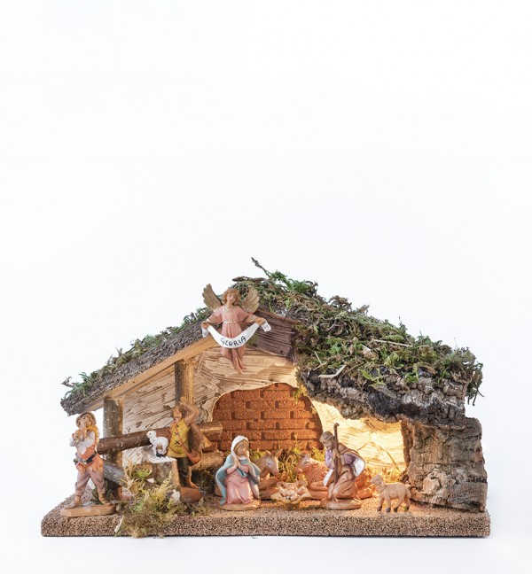 Stable n.405/L with 9 pieces for creche 6,5 cm. with light